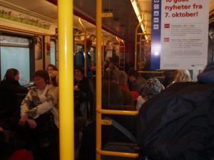 帰宅ラッシュ時のバス